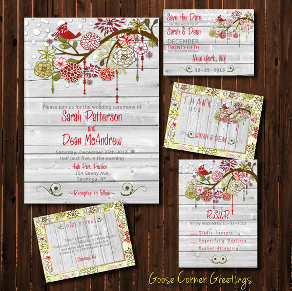 Christmas Barn Wood Wedding Invitations