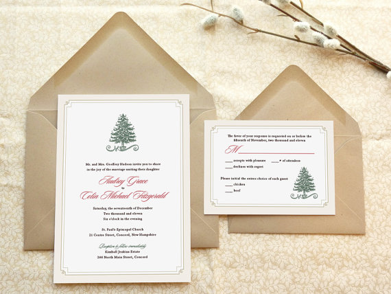 Evergreen Christmas Wedding Invitations