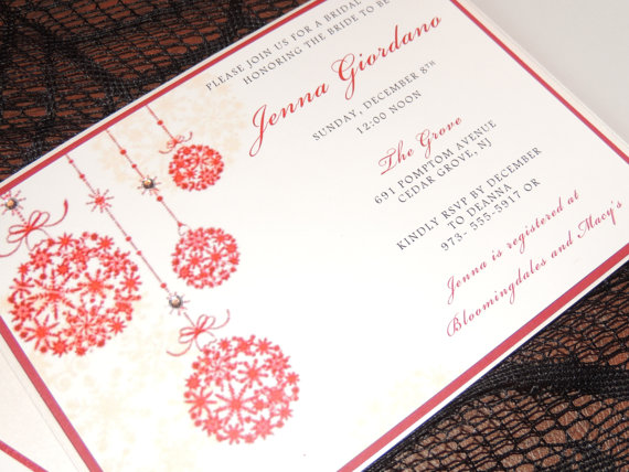 Red & White Christmas Wedding Invitations