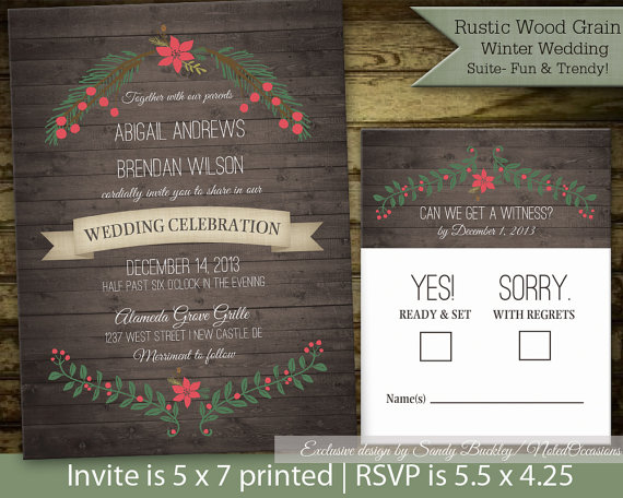 Vintage Holly Poinsettia Wreath Christmas Wedding Invitations