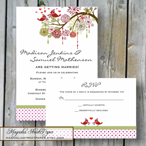 Love Birds Christmas Wedding Invitation