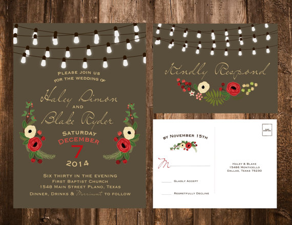 Holiday Flowers Christmas Wedding Invitations
