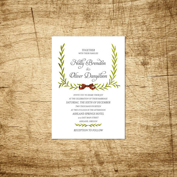 Holiday Wreath Christmas Wedding Invitation