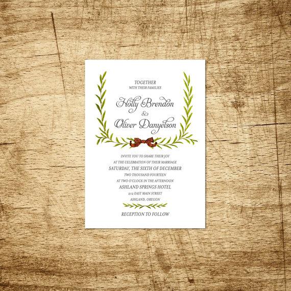 Holiday Wreath Christmas Wedding Invitation