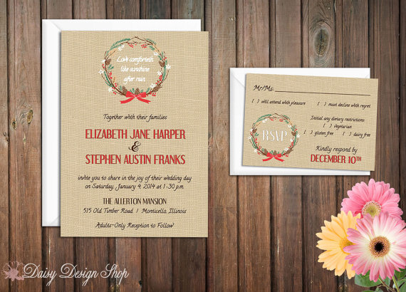 Christmas Wreath on Burlap Background Christmas Wedding Invitation