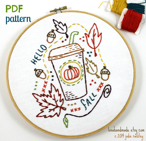 Pumpkin Spiced Latte Fall Autumn Harvest Hand Embroidery PDF Pattern