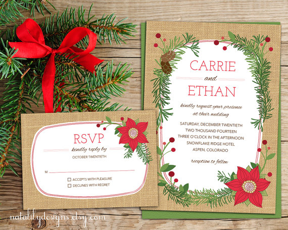 Poinsettia Christmas Wedding Invitation