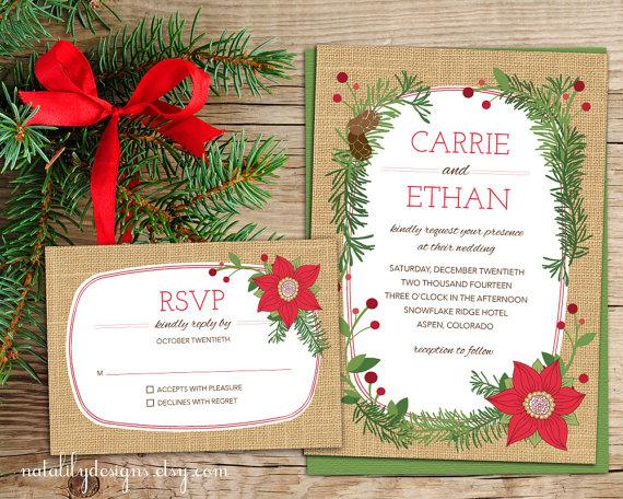 Poinsettia Christmas Wedding Invitation
