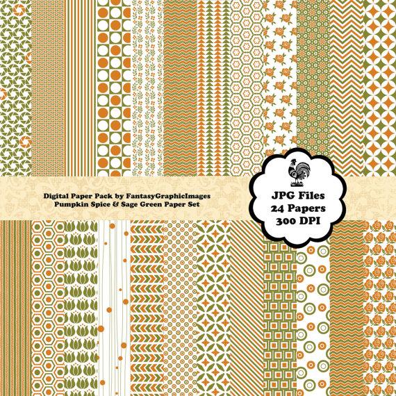 Pumpkin Spice Sage Green Digital Paper Pack