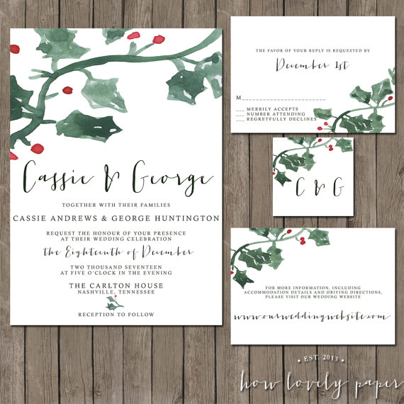 holly jolly christmas wedding invitation
