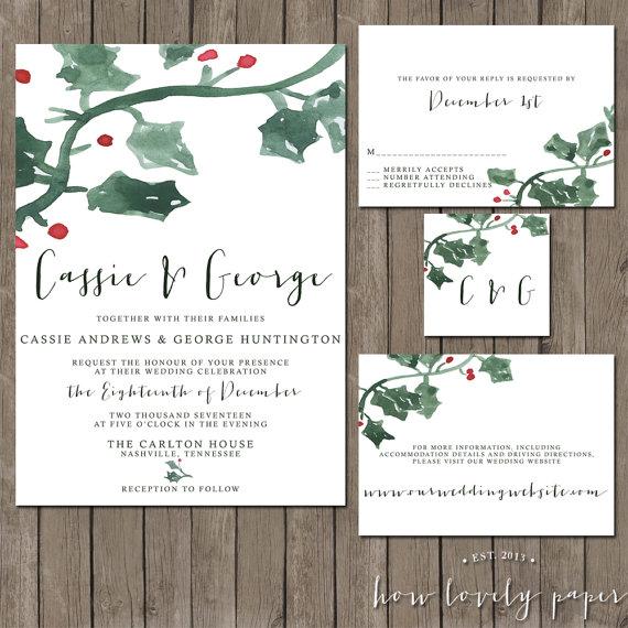 Holly Jolly Christmas Wedding Invitation