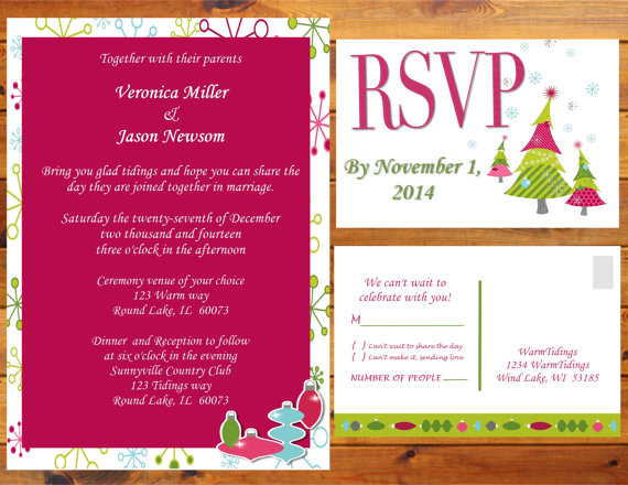 Whimsy Christmas Wedding Invitations