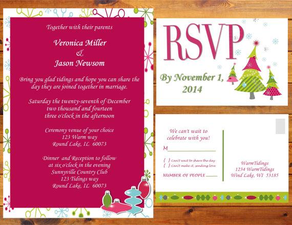 Whimsy Christmas Wedding Invitations