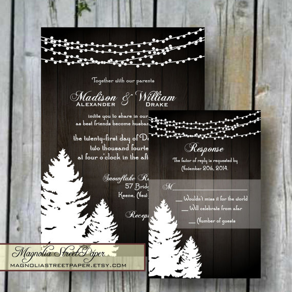 Pine Trees & Twinkle Lights Christmas Wedding Invitation