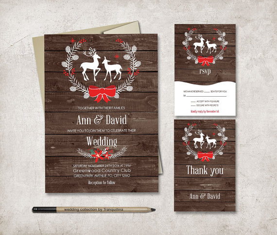 Rustic Deer Christmas Wedding Invitation