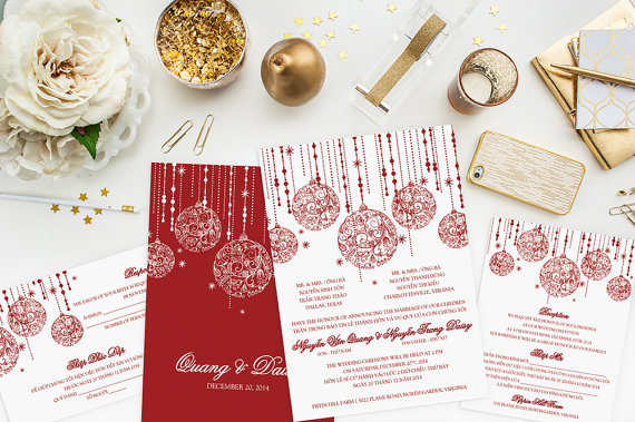 Christmas Holiday Wedding Invitation Set