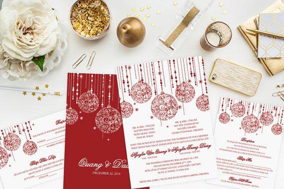 Christmas Holiday Wedding Invitation Set