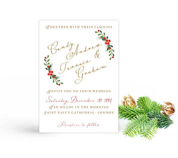 Watercolor Christmas Wedding Invitation Printable