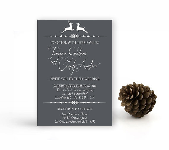 Christmas Reindeer Wedding Invitation Printable