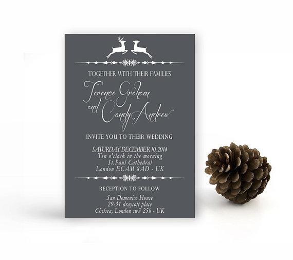 Christmas Reindeer Wedding Invitation Printable
