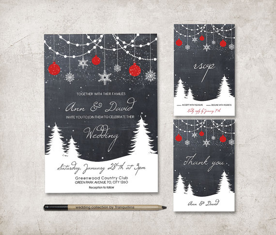 Christmas Chalkboard Wedding Invitation