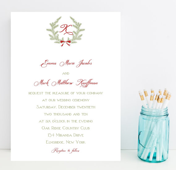 Traditional Christmas Wedding Invitation