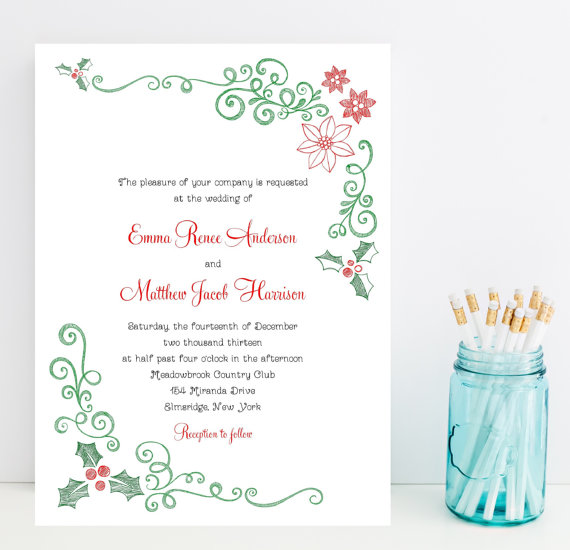 Mistletoe and Poinsettia Christmas Invitations