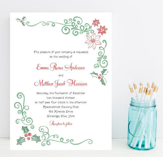 Mistletoe and Poinsettia Christmas Invitations