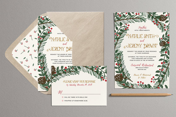 Pine Branches &Holly Christmas Wedding Invitations