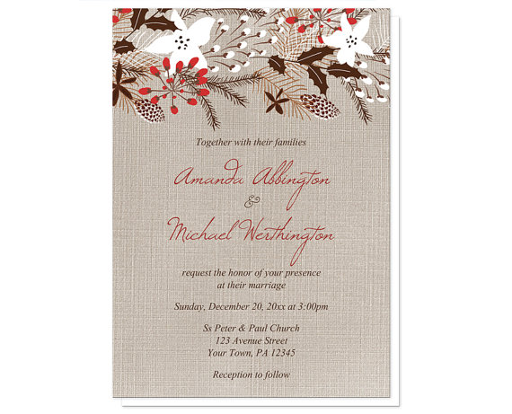 Rustic Red Linen Christmas Wedding Invitation