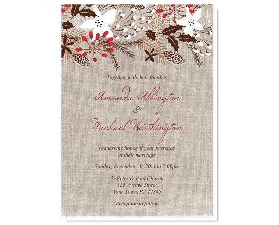 Rustic Red Linen Christmas Wedding Invitation