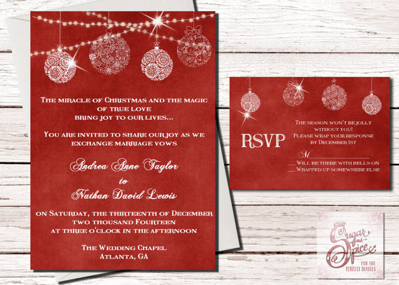 Red Christmas Wedding Invitation