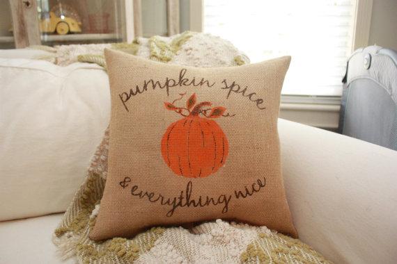 Pumpkin Spice & Everything Nice Burlap Pillow