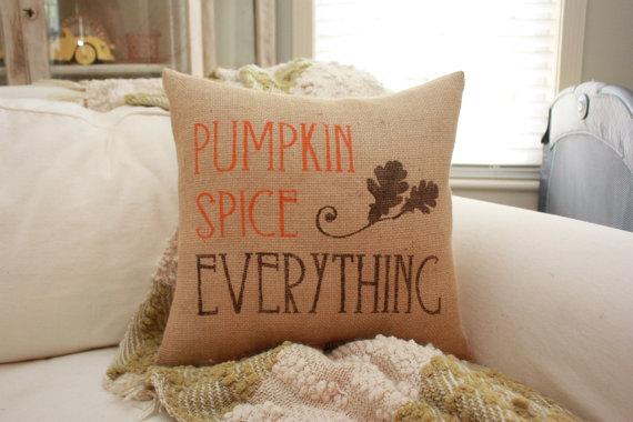 Pumpkin Spice Everything Burlap Pillow