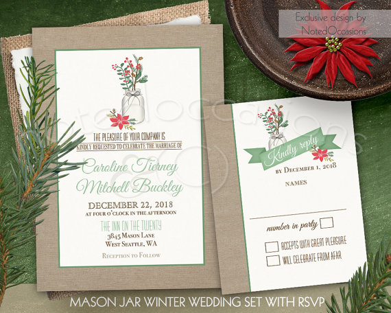 Mason Jar Burlap Christmas Wedding Invitation