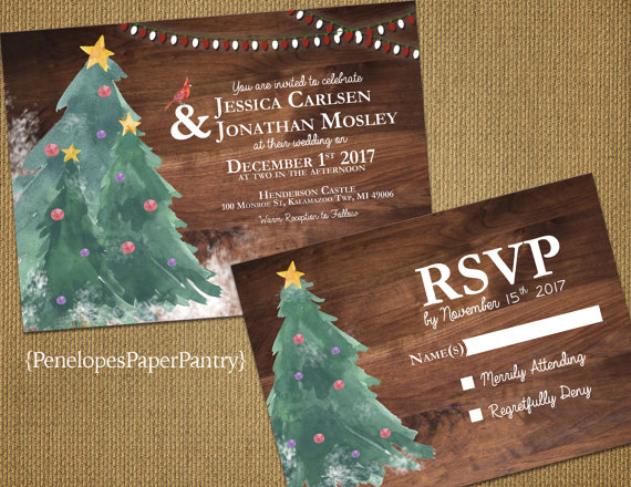 Rustic Christmas Tree Wedding Invitations