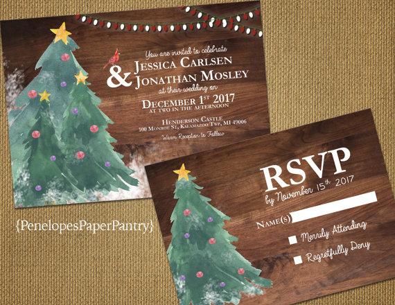 Rustic Christmas Tree Wedding Invitations