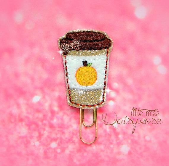 Pumpkin Spice Latte Glitter Paper Clip