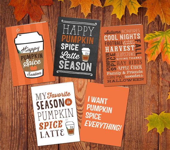 Pumpkin Spice Latte Fall Season Greeting Card Bundle