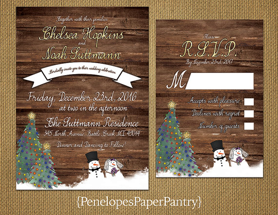Whimsical Rustic Christmas Wedding Invitation