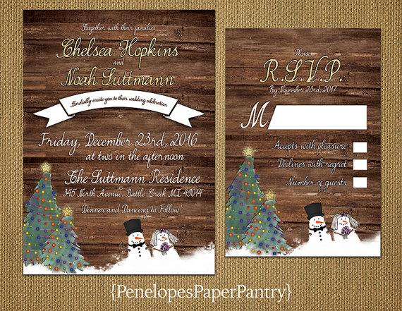 Whimsical Rustic Christmas Wedding Invitation