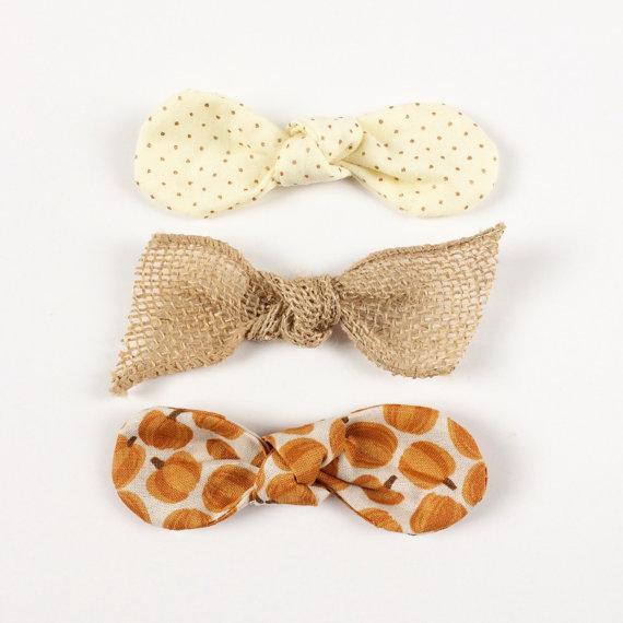 Pumpkin Spice Latte Fabric Twist Knot Bow Hair Clip Set