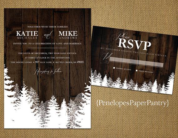 Rustic Snowy Pine Trees Christmas Wedding Invitation