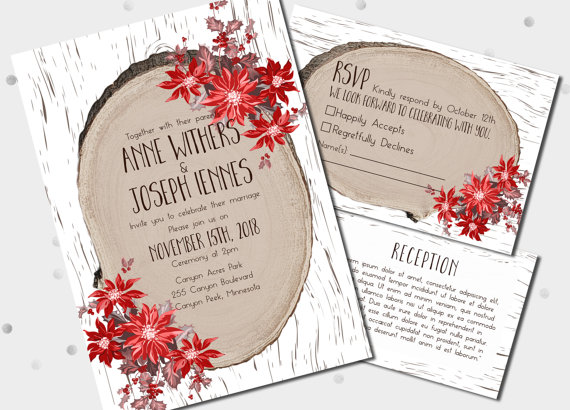 Country Chic Christmas Wedding Invitations