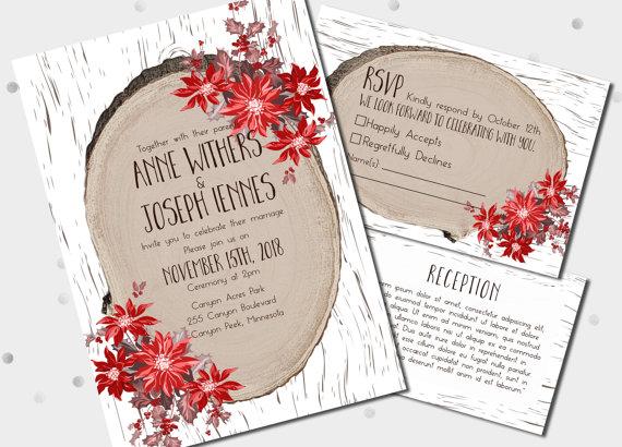 Country Chic Christmas Wedding Invitations