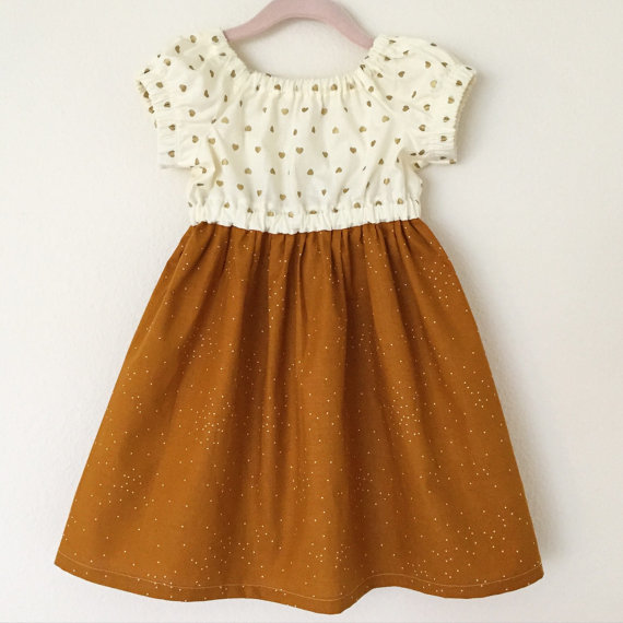 Gold Hearts & Pumpkin Spice Girls Dress