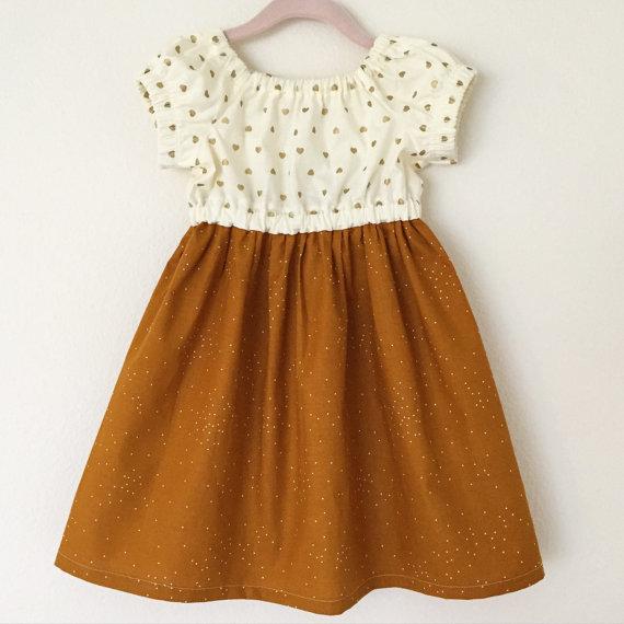 Gold Hearts & Pumpkin Spice Girls Dress