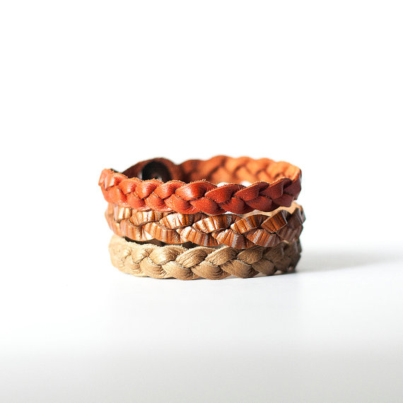 Pumpkin Spice Braided Leather Bracelet Trio