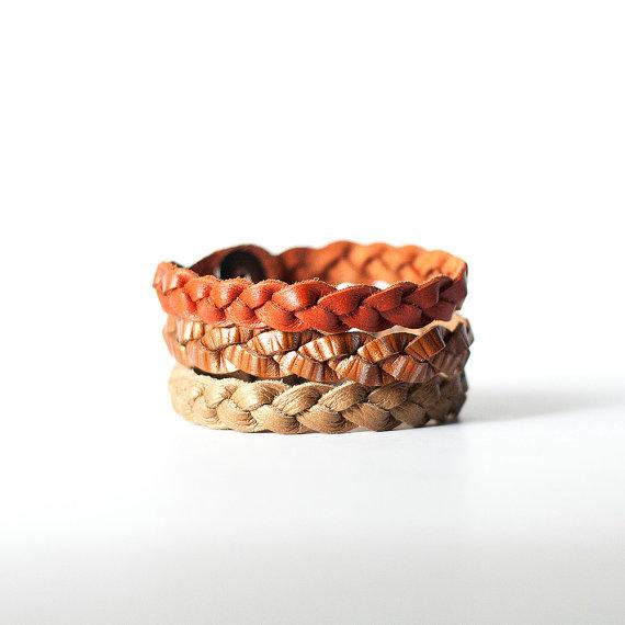 Pumpkin Spice Braided Leather Bracelet Trio
