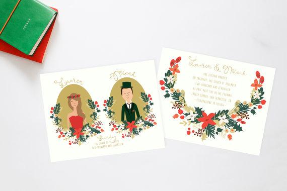 Christmas Forest Celebration Wedding Invitation Suite